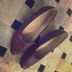 Vintage vachetta leather stacked wooden block heel
